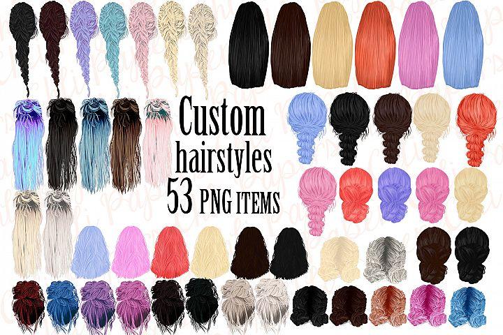 Custom Hairstyles Clipart,Hair clipart,Girls hairstyles