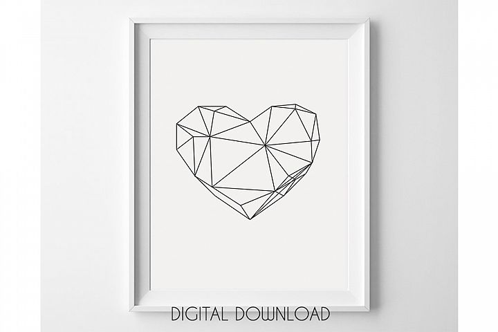 Geometric Heart, Black and White, Scandinavian Design