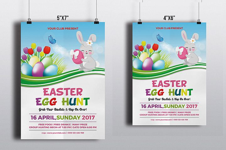 Easter Party Flyer Template | MS Word & Photoshop template