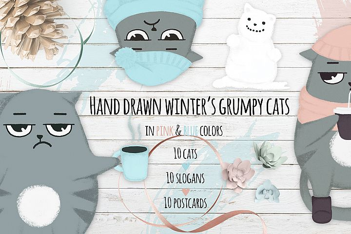 Winters cats hand drawn