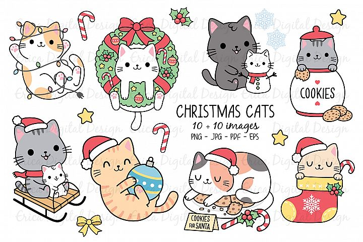 Christmas Cats clipart set - 10 cats & 10 objects - Bundle