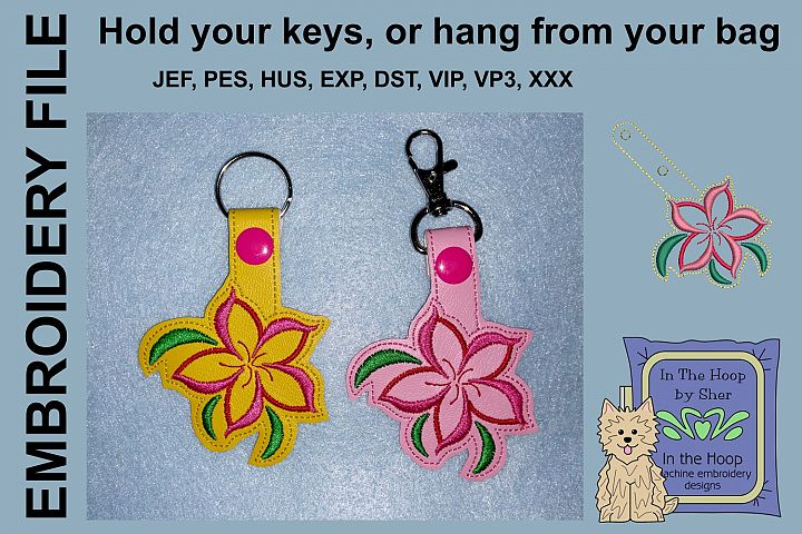 ITH Swirly Flower Vinyl Key Fob or Bag Tag - Snap Tab