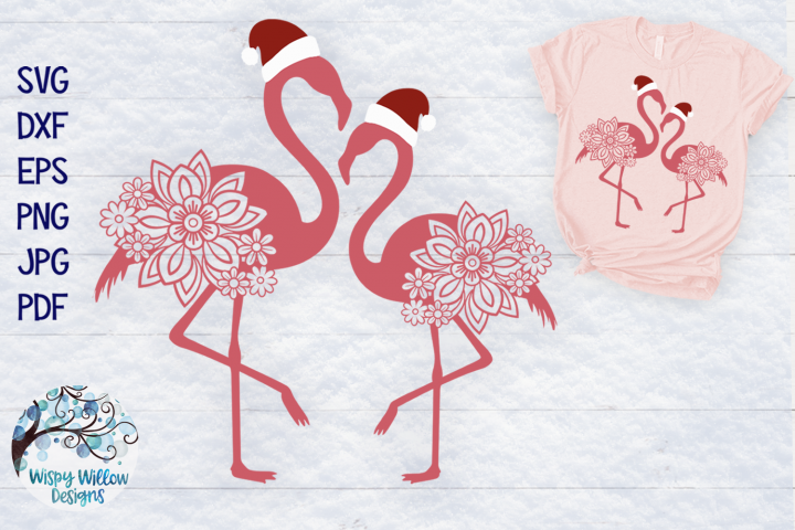 Christmas Flamingo SVG Cut File | Santa Flamingo SVG