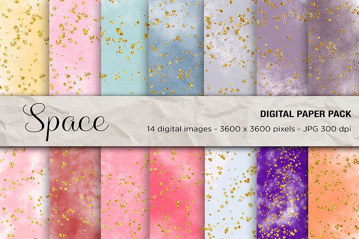 Space Digital Paper, Glitter Art, Glitter Digital Paper