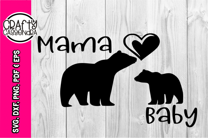 Mama bear svg - bear silhouette - heart silhouette - baby