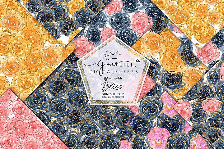 Watercolor Floral Scrapbook Paper Seamless Pattern GunesLili
