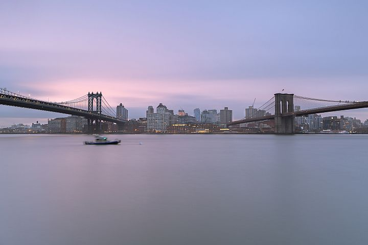 Dumbo location from east river at sunrise