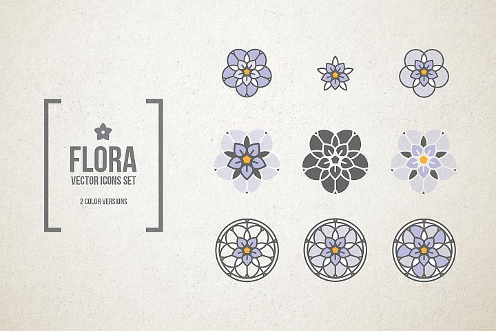 Stained Glass Flowers. Vector icons.