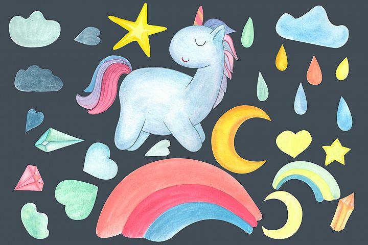 Watercolor unicorn. Weather Clipart.