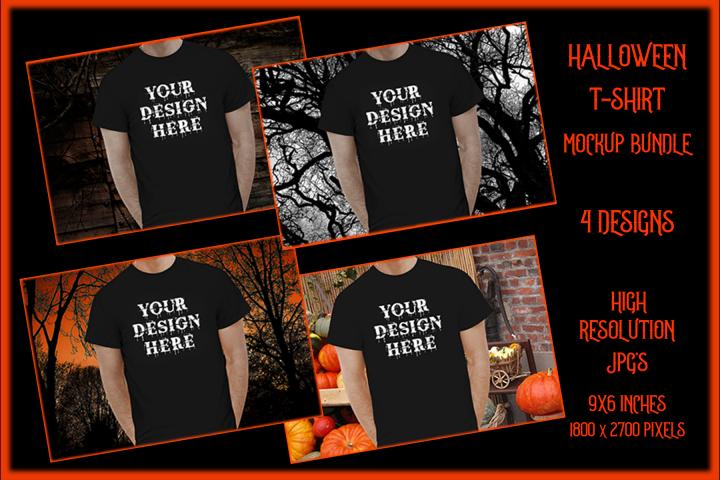 Halloween t-shirt Mockup Bundle, Black Shirt Mock-Up JPG
