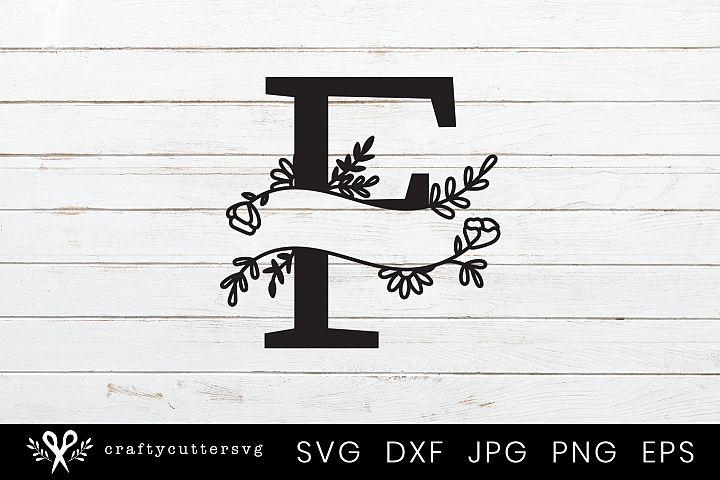 F Split Monogram Letter Handdrawn Botanical Flower Leaves