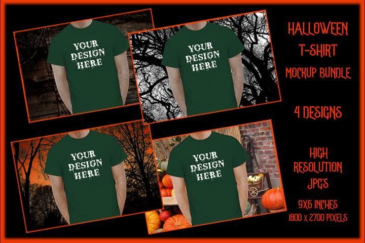 Halloween t-shirt Mockup Bundle, Green Shirt Mock-Up JPG