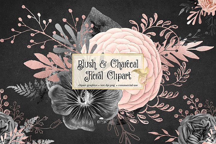 Blush and Charcoal Floral Clipart