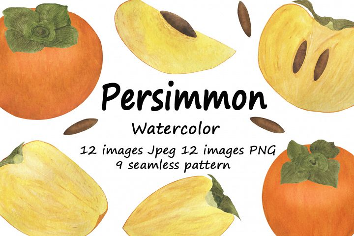 Set of persimmon watercolor illustrations.