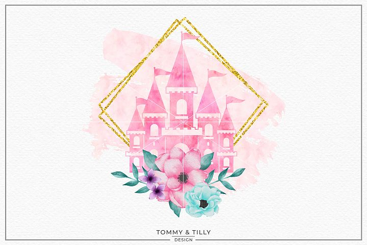 Pink Castle Gold Frame- Sublimation PNG Clipart