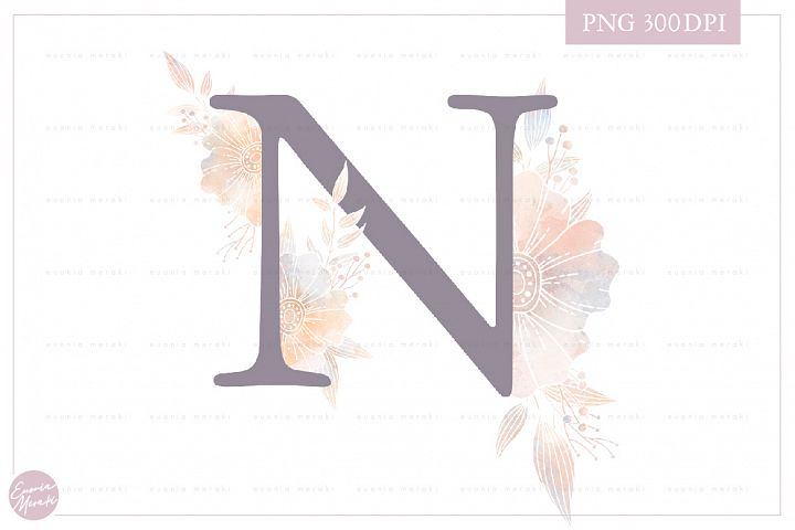 MONOGRAM Letter N Elegant Floral Monogram - Flower alphabet