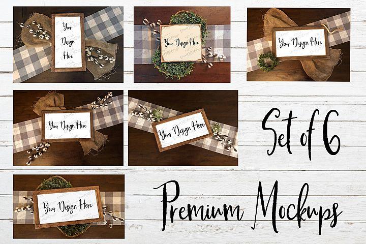 Farmhouse Style Wood Sign Mockups Mockup Bundle of Six