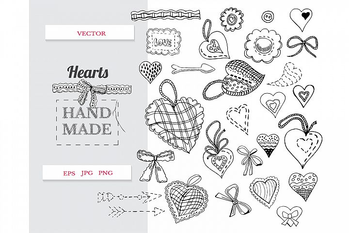 Hand drawn sewing hearts. Set of vector monochrome items.