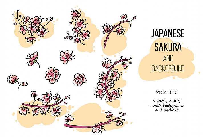 Pink Japanese Bird - Floral set example 3