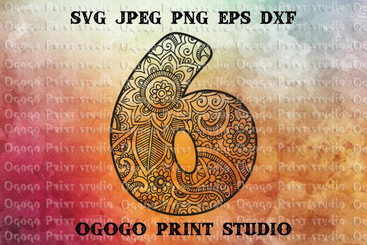 Number six Svg, Zentangle svg, Mandala svg, Floral font example image 1