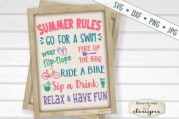 Summer Rules - Summer Sign - SVG DXF Files