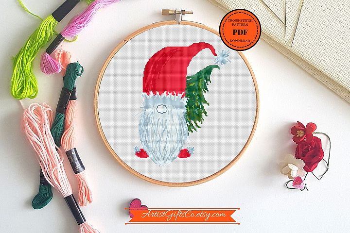 Cross stitch pattern PDF Christmas Gnome Embroidery designs