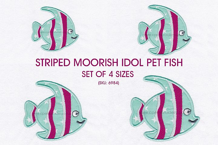 Striped Moorish Idol Pet Fish Applique Design