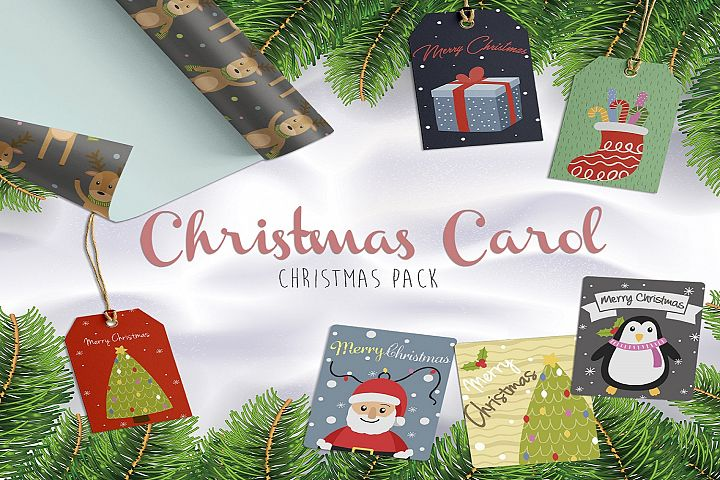 Christmas Carol celebration illustration pack