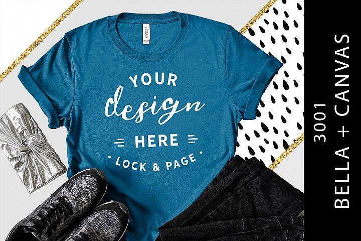 Deep Teal Bella Canvas 3001 T-Shirt Mockup Graphic Mockup