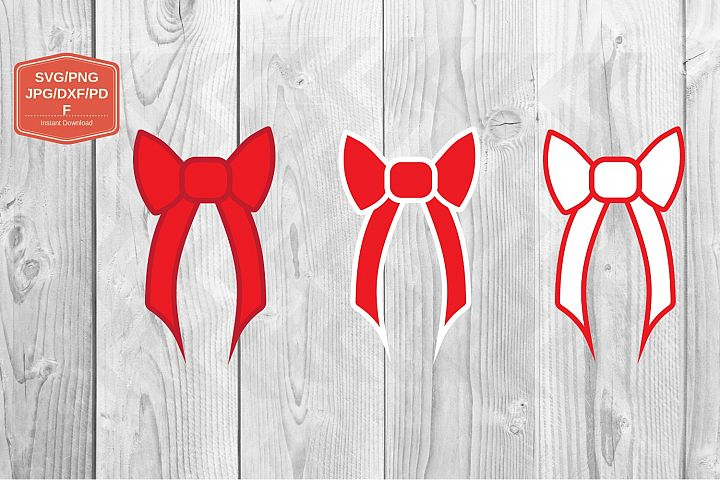 Red Christmas bow. SVG file, PNG JPG PDF DXF, Cut file print