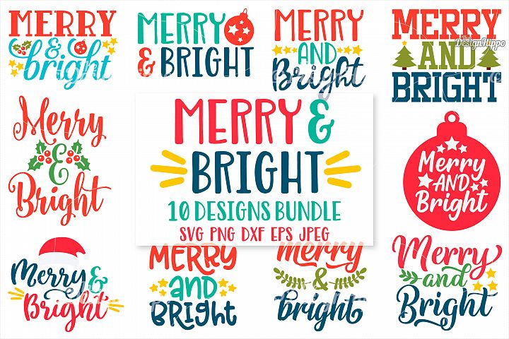 Christmas Bundle, Merry and Bright SVG, PNG, DXF, Cut Files