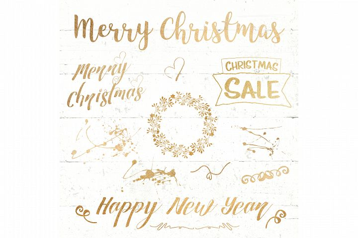christmas text overlay lettering gold