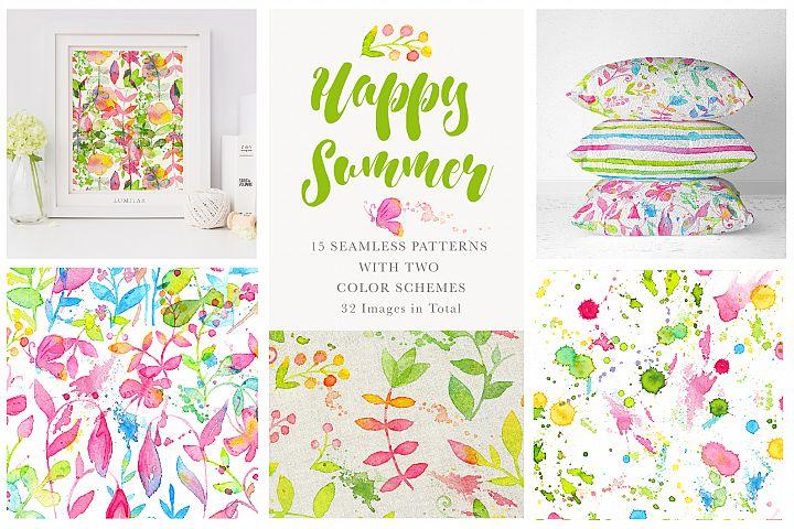 Happy Summer Seamless Patterns
