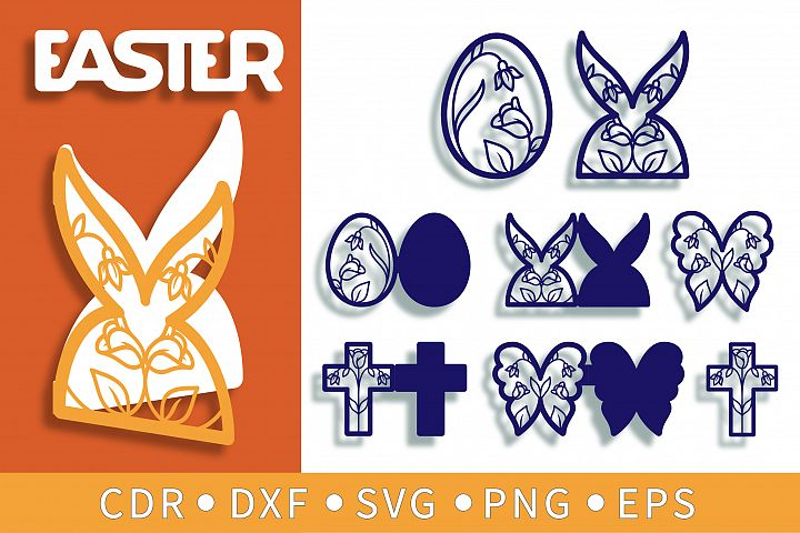 9 Easter SVG, Floral clipart, Cross & Bunny cards for Cricut