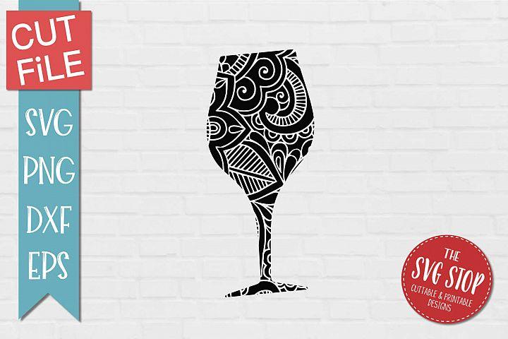 Mandala Wine Glass - SVG, PNG, DXF, EPS