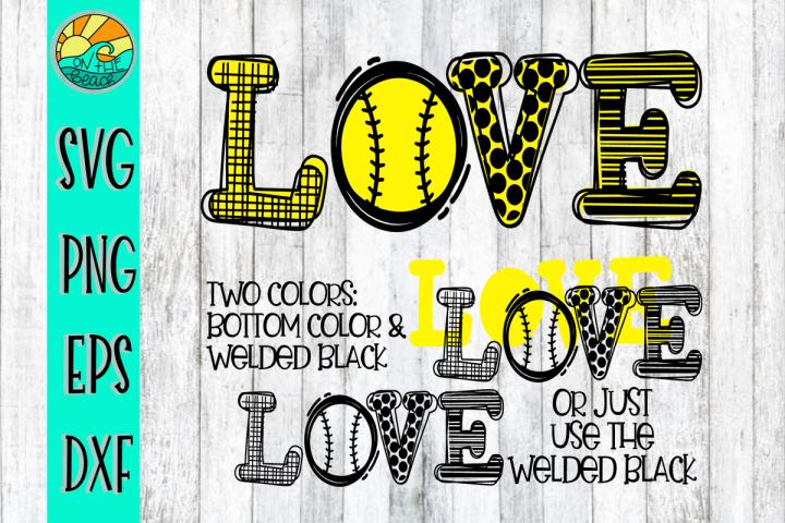 LOVE - Baseball - Softball - SVG - DXF - EPS - PNG