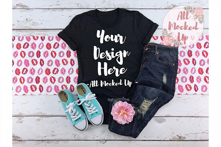 Bella Canvas 3413 or 3001 Black Heather Shirt Mock Up