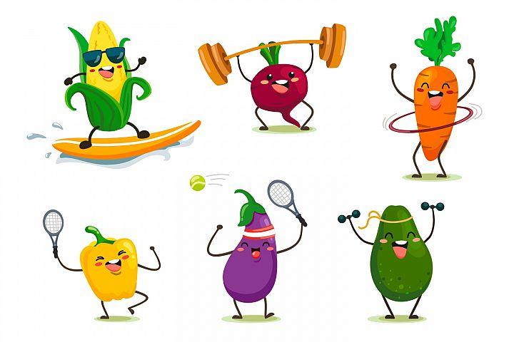 Cute cartoon vegetables, barbecue, sport.