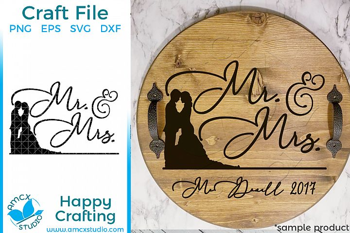 Mr. & Mrs. Wedding Couple SVG file example 1