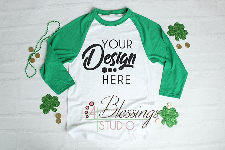 8be56682 St Patricks Raglan Shirt Mockup Baseball TShirt Green