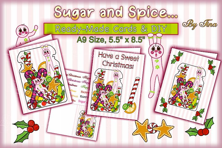 Christmas Card Sugar Spice Pink Gingerbread Men 111218SSGBC