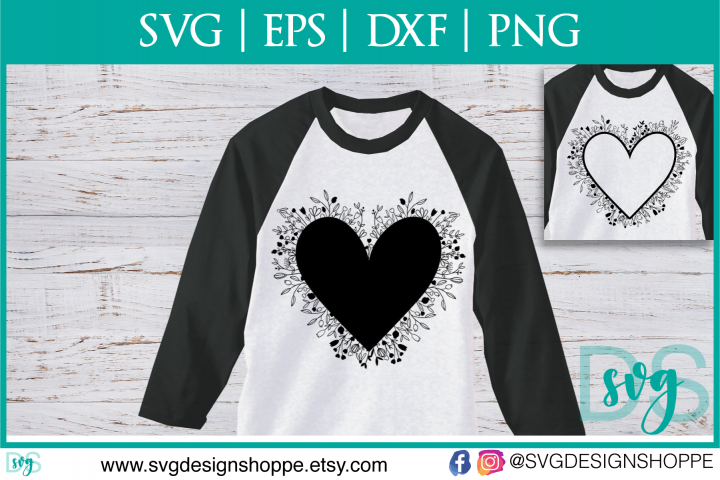 Valentines Silhouette Heart Flower Zentangle DXF SVG