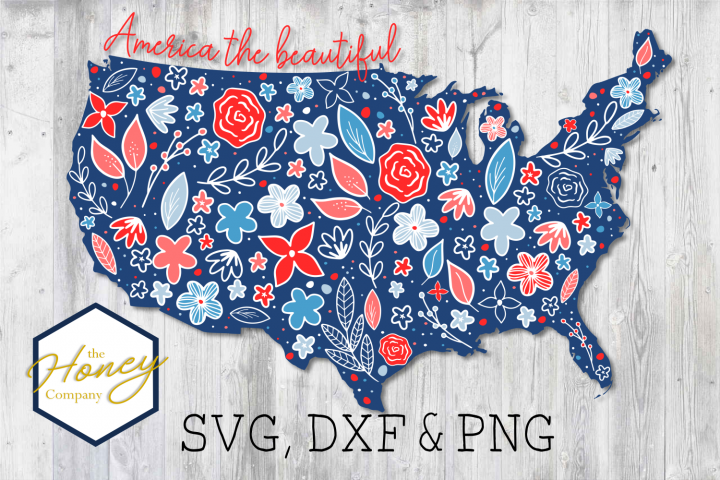 United States of America Floral SVG PNG DXF Cutting File