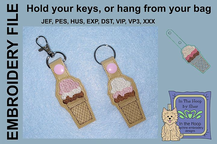 ITH Ice Cream Cone Vinyl Key Fob or Bag Tag - Snap Tab