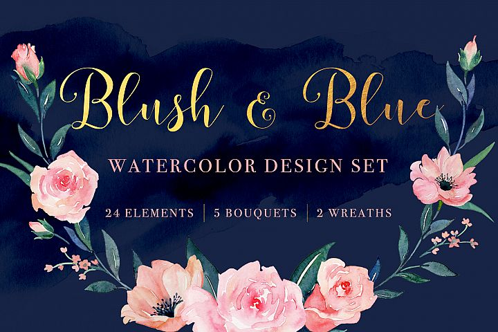 Blush and Blue Watercolor Set