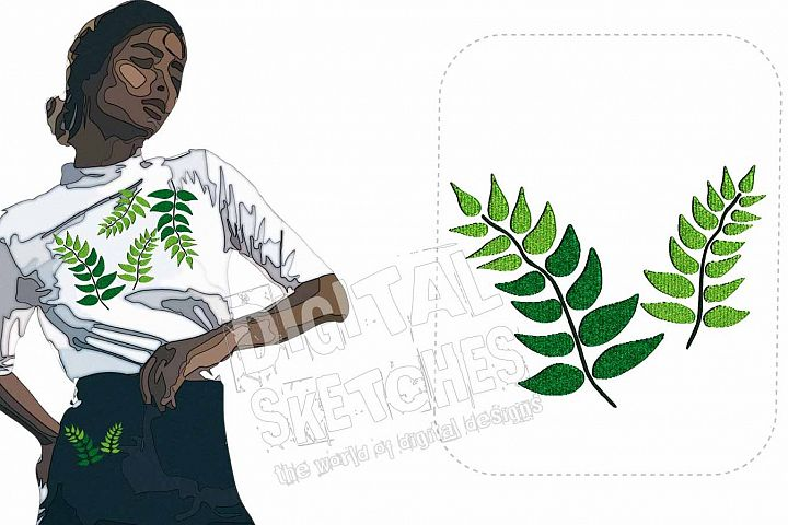 Fern Forest Machine Embroidery Design 2 Sizes