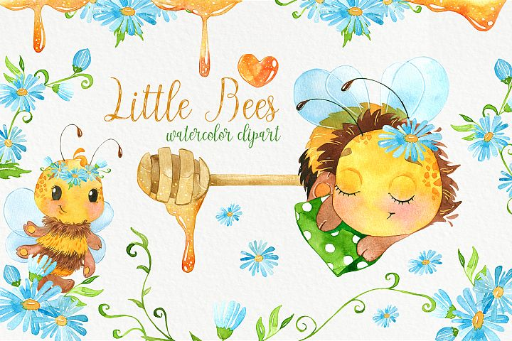 Bees. Cute bee watercolor clipart. Baby animals clip art