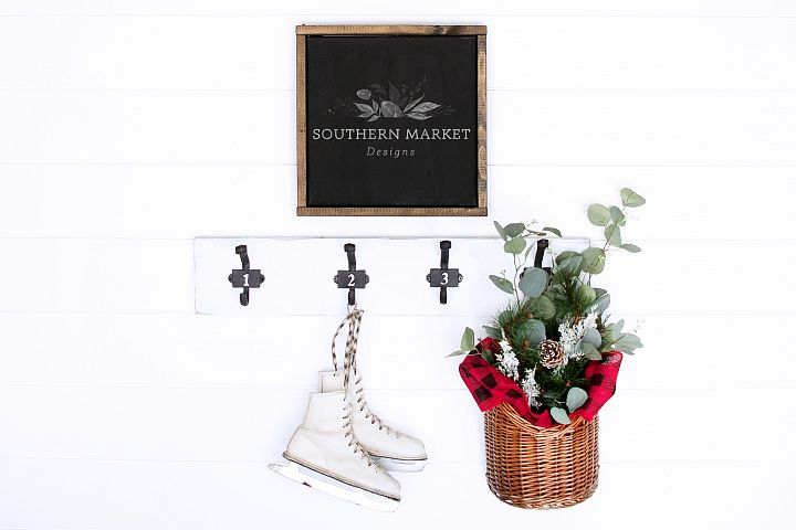 Christmas 12x12 Wood Sign Mock Up Styled Photography