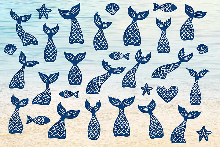 Mermaid tails, fishes, starfishes, shells silhouettes SVG DXF PNG EPS Cutting Files. Mermaid tail SVG, Mermaid Bundle SVG.