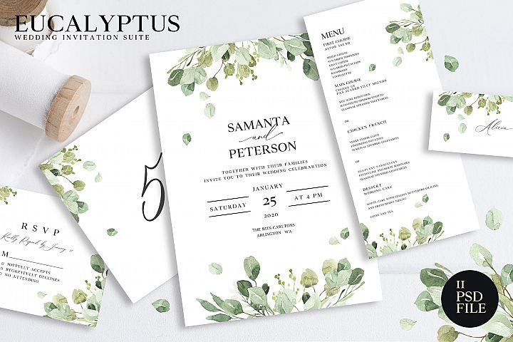 Wedding Eucalyptus Watercolor Suite
